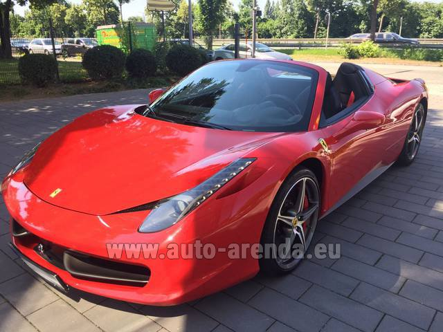 Hire and delivery to Saint-Martin-de-Belleville the car: Ferrari 458 Italia Spider Cabrio Red