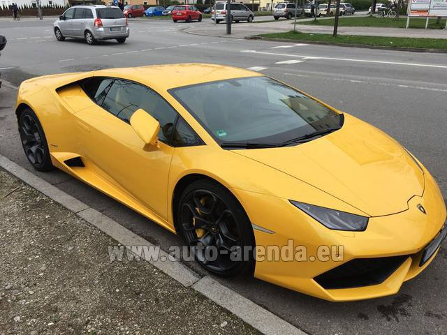 Rental Lamborghini Huracan LP 610-4 Yellow in Andorra