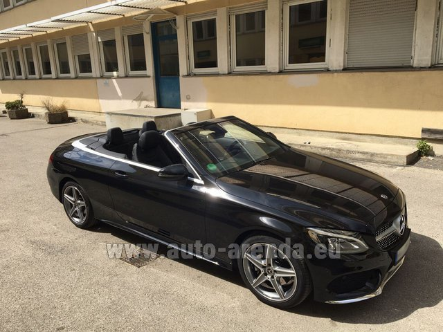 Hire and delivery to Saint-Martin-de-Belleville the car: Mercedes-Benz C 180 Cabrio AMG Equipment Black