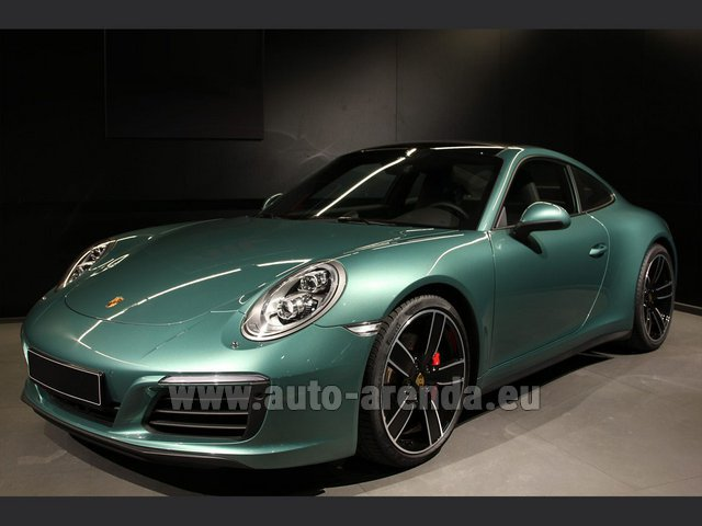 Rental Porsche 911 991 4S Racinggreen Individual Sport Chrono in Paris