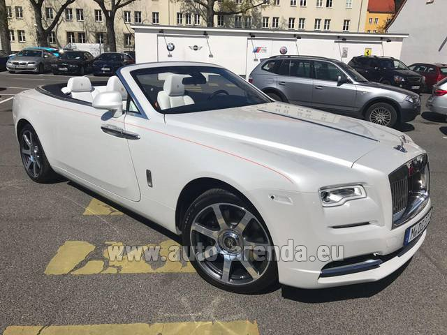 Hire and delivery to Saint-Martin-de-Belleville the car: Rolls-Royce Dawn (White)